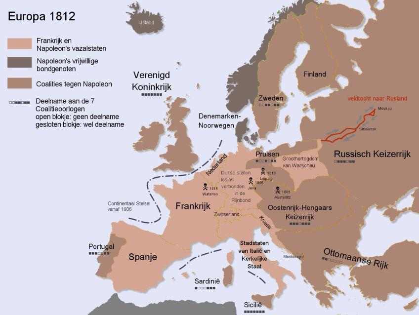 Kaart met de veroveringen van Napoleon. Bron: www.tijdgeest.eu