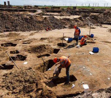 Foto gemaakt tijdens de opgraving bij Kampen (ADC)