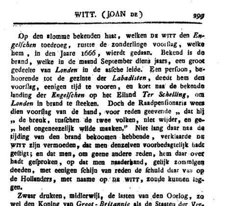 Het voorstel van een Labadist aa Johan de Witt om Londen in brand te steken, uit wraak voor de overval van West-Terschelling.