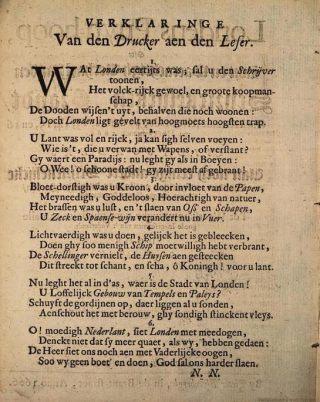 Uit dit gedicht blijkt weinig mededogen met de getroffen bevolking van Londen.