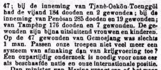 Bericht uit Het Volk van 1905: 'Passen onze troepen niet veel meer een systeem van afmaking dan van krijgsmaking toe?'