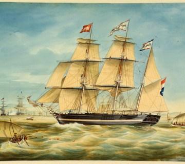 Het barkschip De Drie Vrienden op de rede van Batavia (1851)