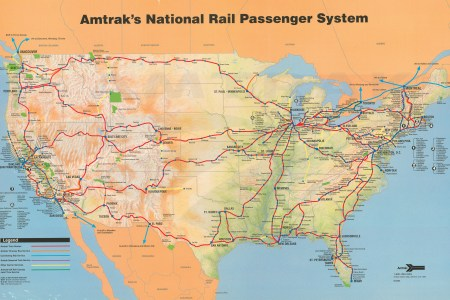 amtrak system map, 1993. amtrak history of americas