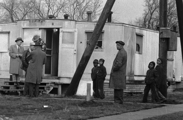 A local African American family moves into an area trailer during World War Two. Courtesy YHS.