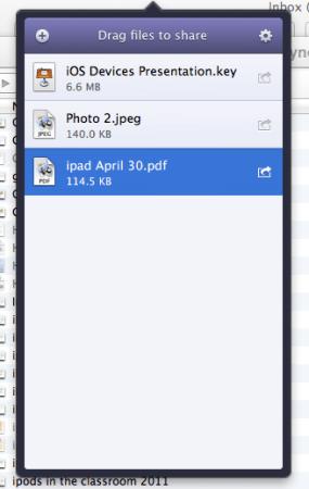 Instashare menu on my laptop
