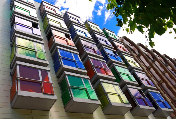 Interesting façade of colourful windows - Bilbao, Spain (105) - Staying in Bilbao