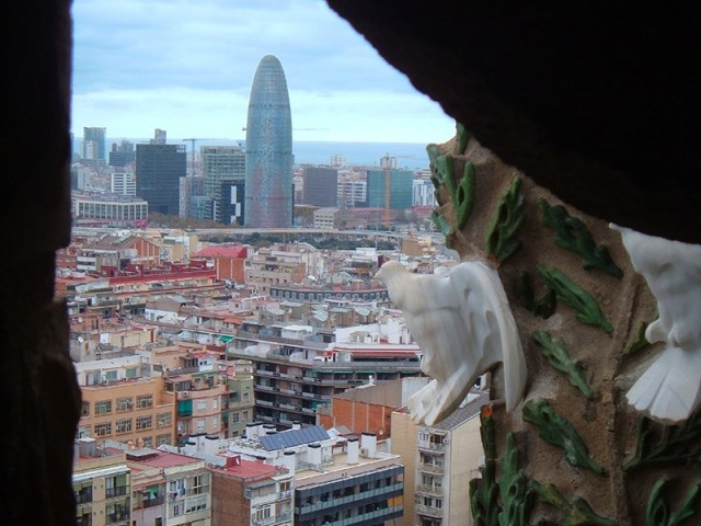 View over Barcelona and the Torre Agbar from Sagrada Familia's towers, Barcelona, Spain
