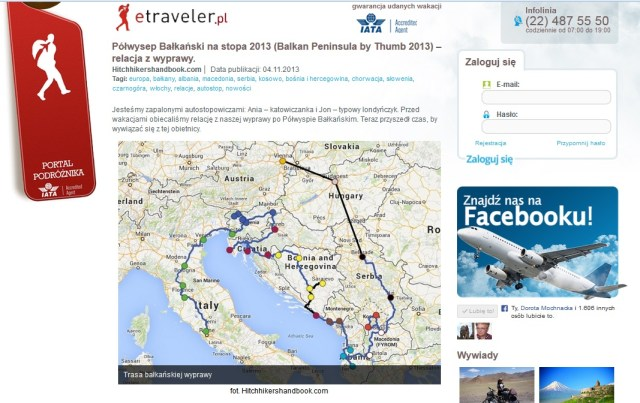 'Balkan Peninsula by Thumb 2013' trip described in etraveler.pl