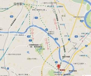日吉から鶴見駅を結ぶ際の路線イメージ(グーグルマップを加工)