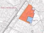 「港北箕輪町二丁目地区 地区計画」の位置図、赤い部分がマンションなどを建設する「A地区」、青い部分が小学校を建てる「B地区」で、旧NRI野村総研のデータセンター跡地がそのまま小学校用地となっている(横浜市が公表した「計画図1」より)