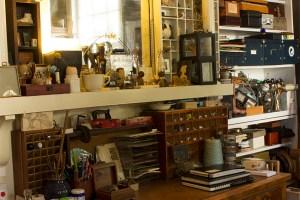 Loads of shelves for art supply storage