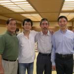 〔左起〕Wong師範,林潤疇助教,橋本師範和梁伯偉師父攝於歡迎晚宴上。