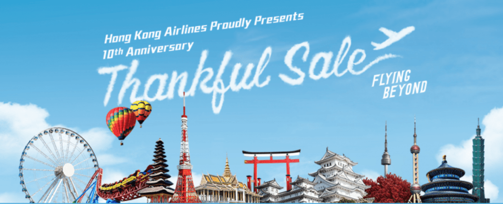 HK Airlines Thankful Sale 10th Anniversary