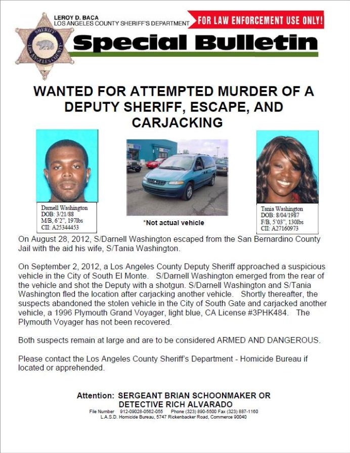 Couple wanted in attempted Murder of LA County Sheriff Deputy