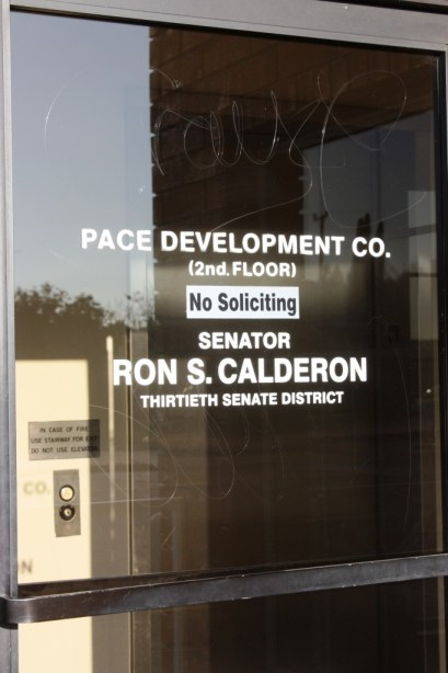 The Montebello offices of California State Senator Ronald Calderon were empty late Tuesday afternoon.  Randy Economy Photo