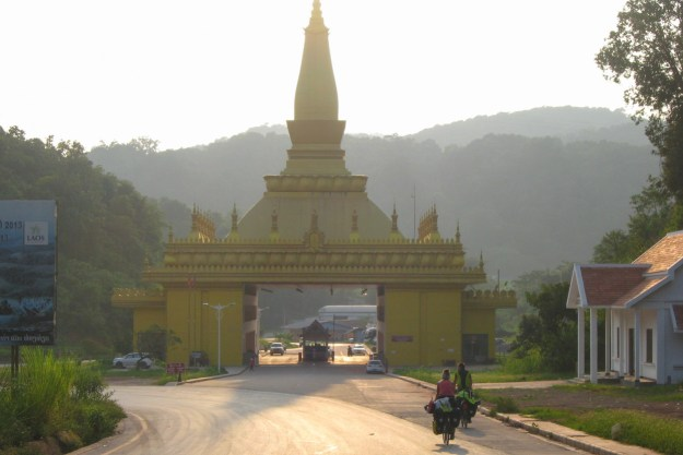 The golden border gate of Laos.