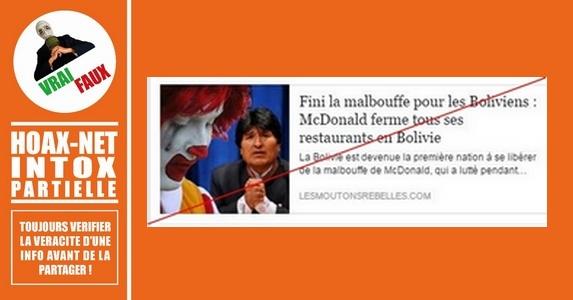 MAC DONALD a bien fermé ses franchises en BOLIVIE mais