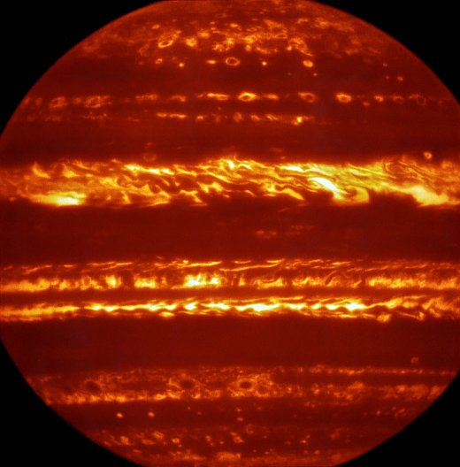 In preparation for the imminent arrival of NASA's Juno spacecraft in July 2016, astronomers used ESO's Very Large Telescope to obtain spectacular new infrared images of Jupiter using the VISIR instrument. They are part of a campaign to create high-resolution maps of the giant planet to inform the work to be undertaken by Juno over the following months, helping astronomers to better understand the gas giant. This false-colour image was created by selecting and combining the best images obtained from many short VISIR exposures at a wavelength of 5 micrometres.