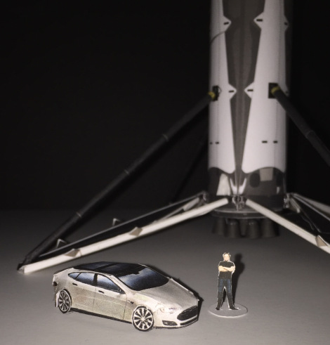 Tesla, SpaceX Falcon 9, Musk paper models