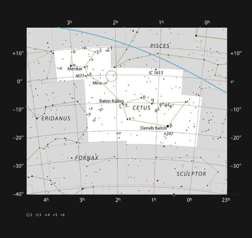 This chart shows the large but faint constellation of Cetus (The Whale). Most of the stars visible with the naked eye are shown and the position of the faint active galaxy Markarian 1018 is marked with a red circle. This object is too faint to be seen easily with small telescopes.