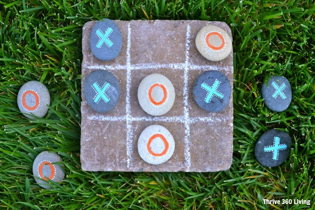 Garden Tic Tac Toe Stone Rock Painted