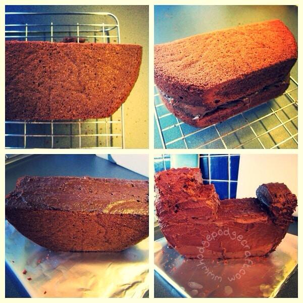 Chocolate pirate ship cake tutorial pic 1