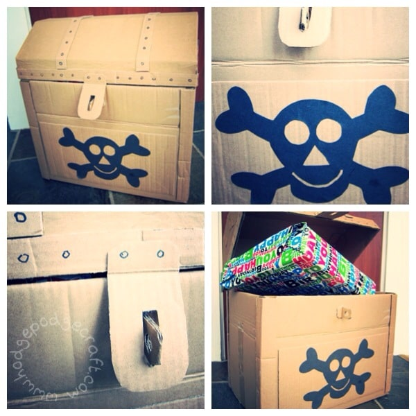 Pirate treasure chest made from a cardboard box