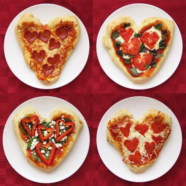 Mini Heart Shaped Pizzas