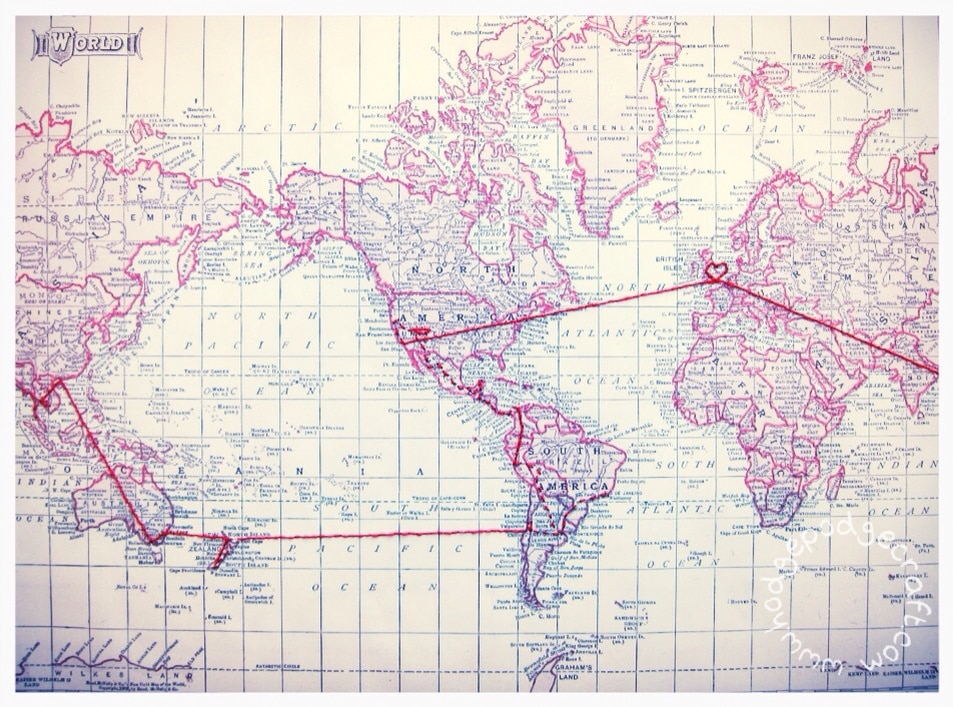 DIY gift for my husband A map of our honeymoon big trip around – Map My World Trip