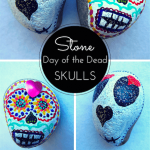 Rock painting: Day of the Dead skulls