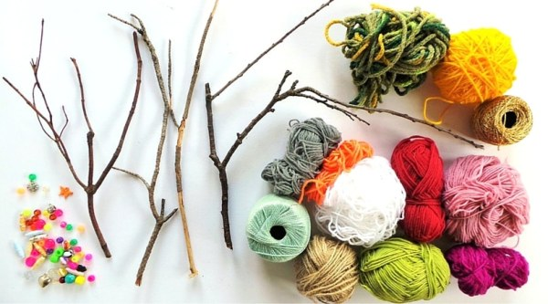 Yarn wrapped sticks materials