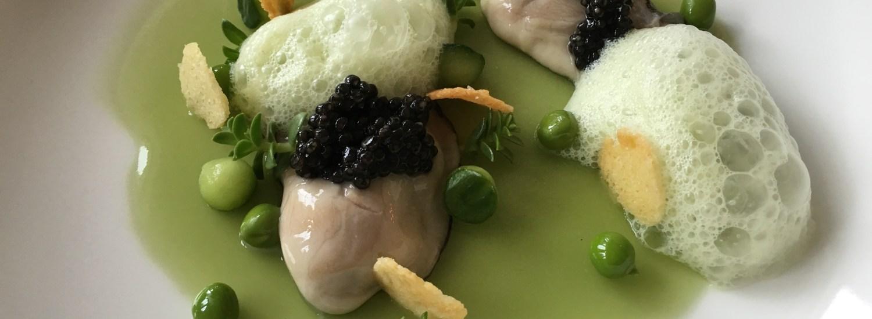 Østers Perle Blanche med agurke ærtegelé