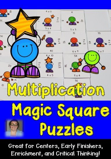 These Multiplication Magic Square Puzzles are great for students who need extra practice on their basic facts! Use them for review, centers, test prep, early or fast finishers, enrichment, or critical thinking skills!