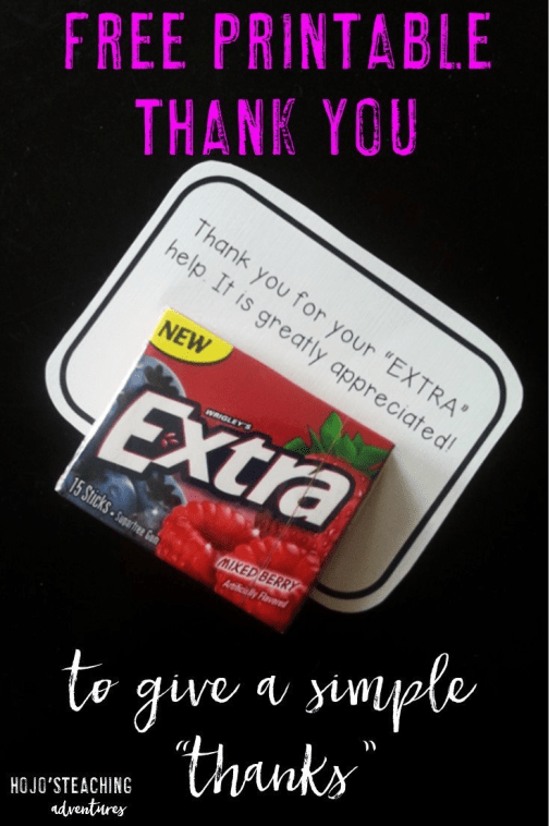 Are you looking for a free thank you printable? Then you've come to the right place! Simply download, cut, write our your note, and affix some extra gum! You'll have an instant appreciation gift with very little effort - win-win!