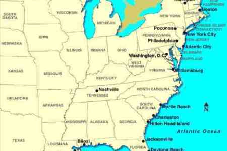 Map Of The East Usa - South eastern us map