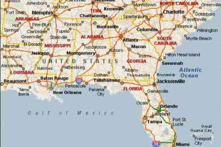 map of se usa map holiday travel holidaymapq.com