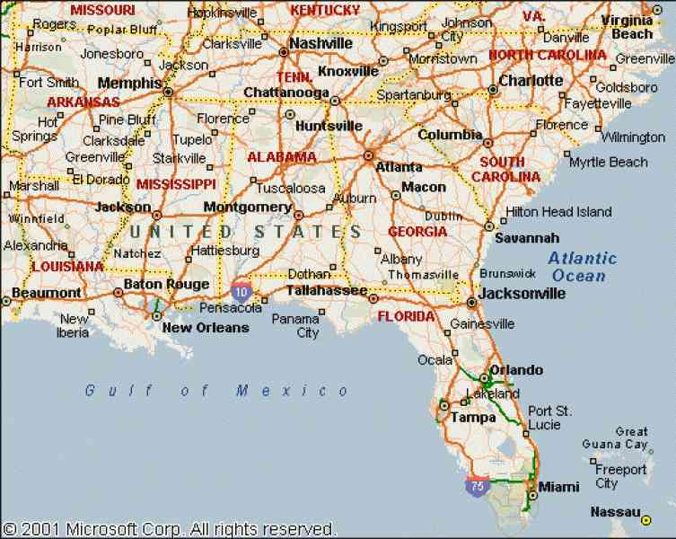 Elevacations Map Se Us - Southeast us map