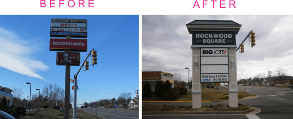 sign renovation examples rockwood before after pylon