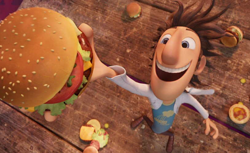 "Inventor, Flint Lockwood turns rain into food in ""Cloudy With a Chance of Meatballs""."