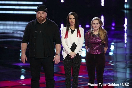 The Voice bottom three Austin, Kat, Caroline