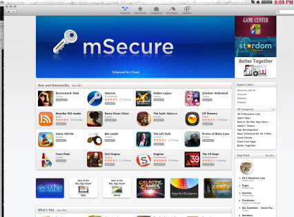 mSecure App Store banner, blue 2