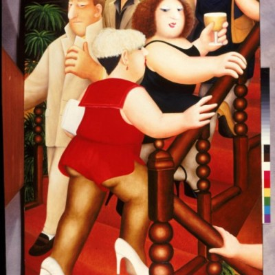 BERYL COOK PAINTING 'THE STAIRCASE BOUNCERS' , Victor Gollancz 1991