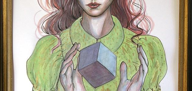 Aquarelle Dahlia et cube