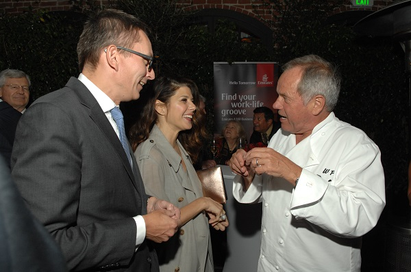 Marisa Tomei with Wolfgang Puck celebrate Emirates A380