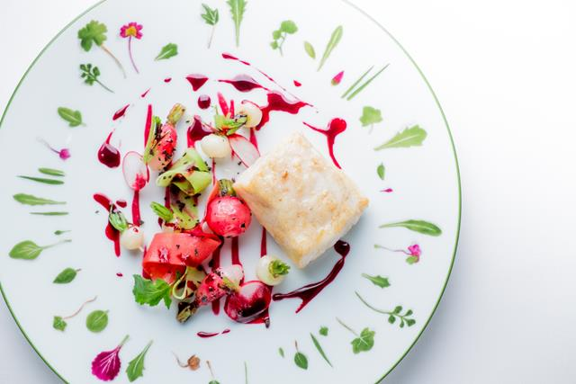 Alain Ducasse, Line caught Sea Bass, beetroot, tender radish ®pierremonetta for HOMBRE Magazine (Copy)