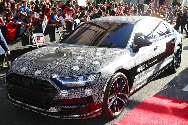 HOLLYWOOD, CA - JUNE 28: Audi A8 at the World Premiere of 'Spider-Man: Homecoming' hosted by Audi at TCL Chinese Theatre on June 28, 2017 in Hollywood, California. (Photo by Joe Scarnici/Getty Images for Audi)