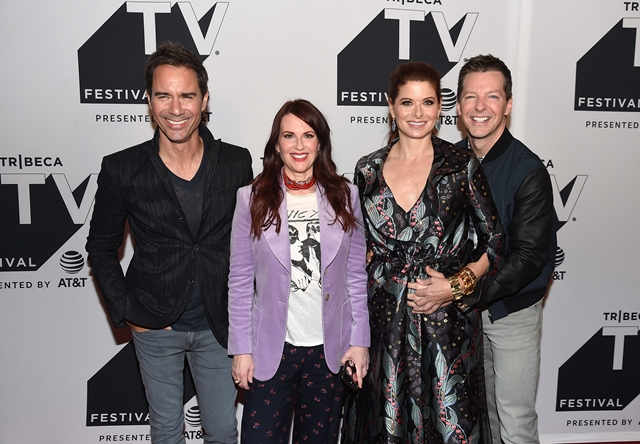 (L-R) Eric McCormack, Megan Mullally, Debra Messing and Sean Hayes attend the Tribeca TV Festival exclusive celebration for Will & Grace
