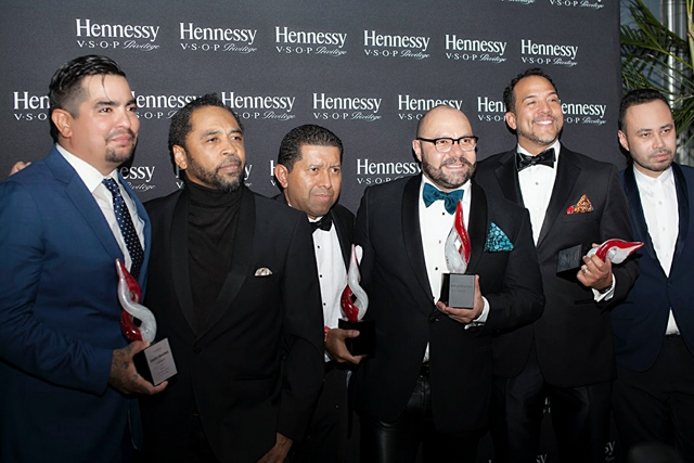 Honoree Aaron Sanchez, Publisher and Editorial Director of HOMBRE Magazine Francisco Romeo, Honorees Johnny Falcones, Rodrigo Flores-Roux, Eduardo Vilaro and Carlos Campos attend the inaugural 'HOMBRE 2017 Men of the Year Awards' presented by Hennessy V.S.O.P. Privilège in New York City on Monday, November 13, 2017. The awards celebrate Latino men making significant contributions in the United States as masters at their craft.