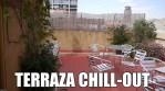 La terraza chill-out del apartamento Barcelonés