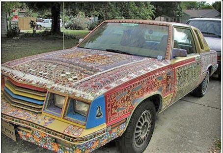 машина расписанная акриловыми красками роспись
